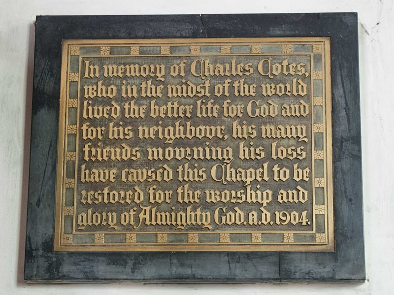 Charles Cotes memorial in All Saints Church Wing