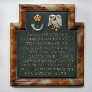 Memorial to the Oxford & Buckinghamshire Light Infantry in Christ Church Cathedral in Oxford